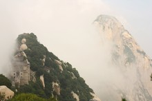 Pavilion In Clouds At Huashan Mountain In China
