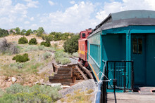 Vintage Rail Car Caboose South Of Santa Fe, New Mexico