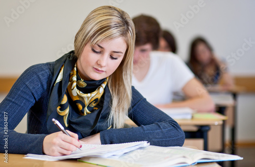 Student working on homework in classroom Canvas Print