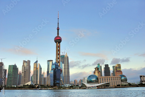 Shanghai the pearl tower and Pudong skyline at sunset. Poster