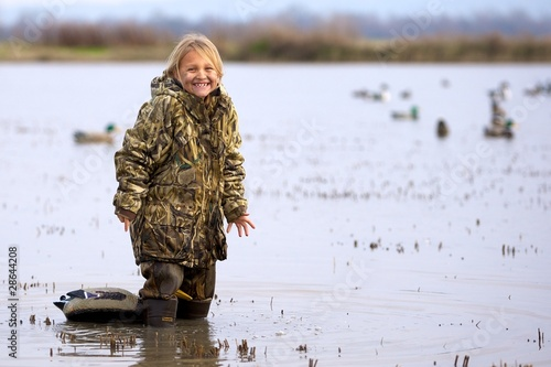 Foto op Canvas Jacht Duck Hunting Daughter
