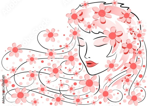 Foto op Canvas Bloemen vrouw Viso di Donna con Fiori-Girl's Face with Flowers-Vector