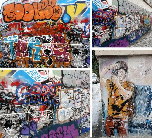 Deurstickers Graffiti collage Mosaïque de tags