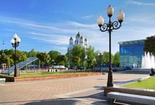 Victory Square And Cathedral In Kaliningrad, Russia