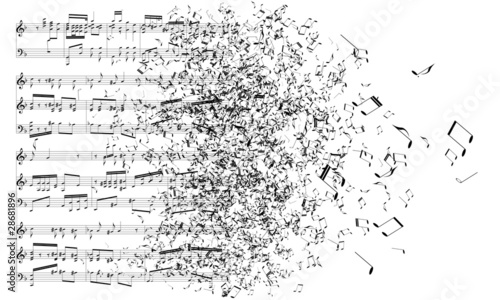 Canvas music notes dancing away