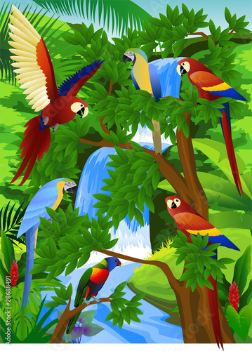 Canvas Prints River, lake Beautiful parrot in nature