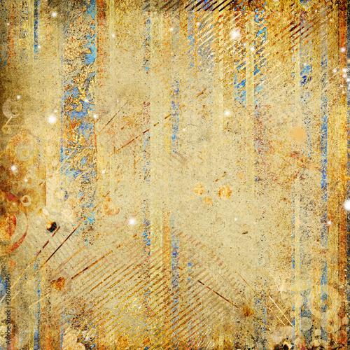 Photo sur Toile Papillons dans Grunge shabby golden paper