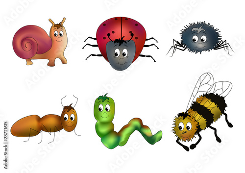 Insects with faces (vector)