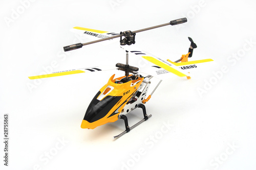 Staande foto Helicopter Isolated Yellow Remote Controlled Helicopter