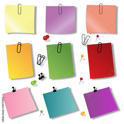colorful papers with pin Canvas Print