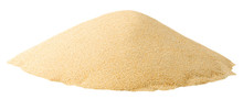 Isolated Sand. Pile Of Fine Light Yellow Sand Isolated On White Background