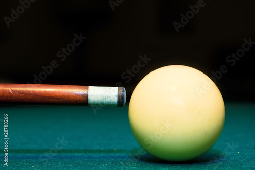 Canvas Print snooker club and white ball in a billiard table