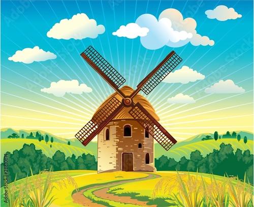 Keuken foto achterwand Turkoois windmill dutch