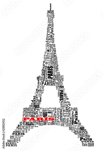 Photo  abstract tour eiffel with words Paris