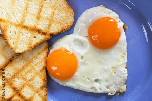 Poster Egg Heart shaped fried eggs