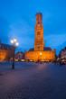 Belfry Grote Markt Bruges Twilight Vertical