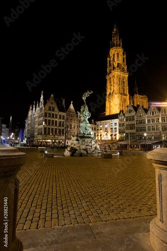 Poster Antwerp Grote Markt Antwerp Night Brabo Onze Lieve Church