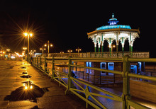 Brighton Bandstand By Night After Rain