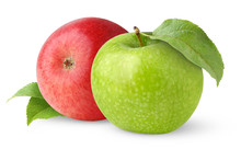 Isolated Apples. One Green And One Red Apple With Leaves Isolated On White Background