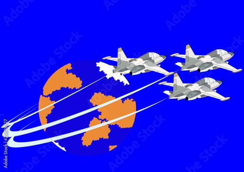 Deurstickers Militair Fighter flight deck aircraft