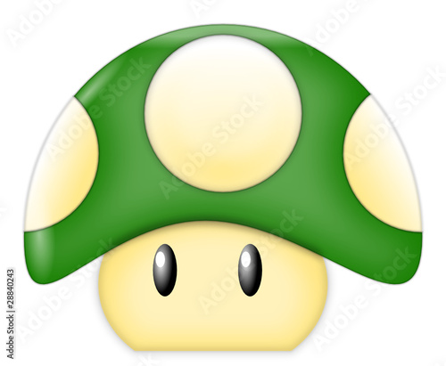 Green Cartoon Mushroom Wallpaper Mural