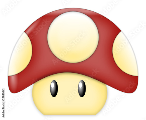 Photo  Red Cartoon Mushroom