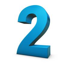 Chiffre 2 3d Bleu