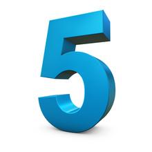 Chiffre 5 3d Bleu
