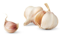 Two Garlic Heads Isolated On White