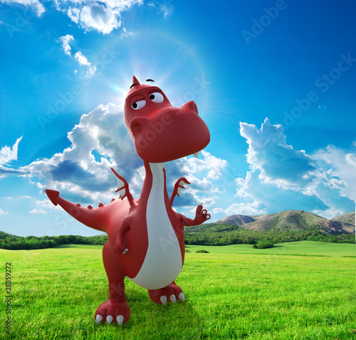Keuken foto achterwand Dinosaurs dino baby dragon walking on the field