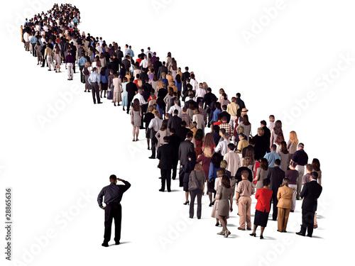 Fotografie, Obraz  long queue of people, back view