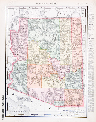 Antique Vintage Color Map of Arizona, AZ, United States, USA ...