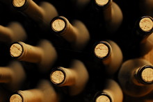 Stacked Up Wine Bottles In The...