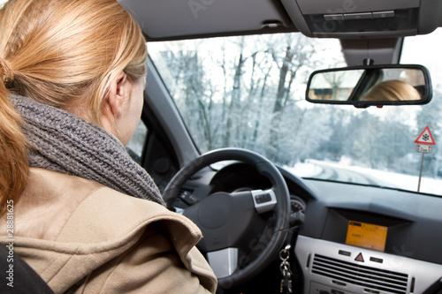Junge blonde Frau fährt Auto im Winter Canvas-taulu