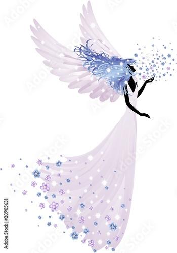 Foto op Canvas Bloemen vrouw Angelo della Primavera-Springtime Angel-Vector