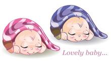 Little Boy And Girl Sleeping Under Blanket