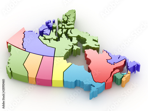 Fotografie, Obraz Three-dimensional map of Canada. 3d