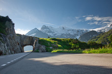Road Tunnel And Mountains