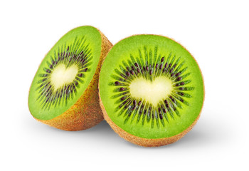 Isolated kiwi. One kiwi fruit cut in half with heart-shaped core isolated on a white background
