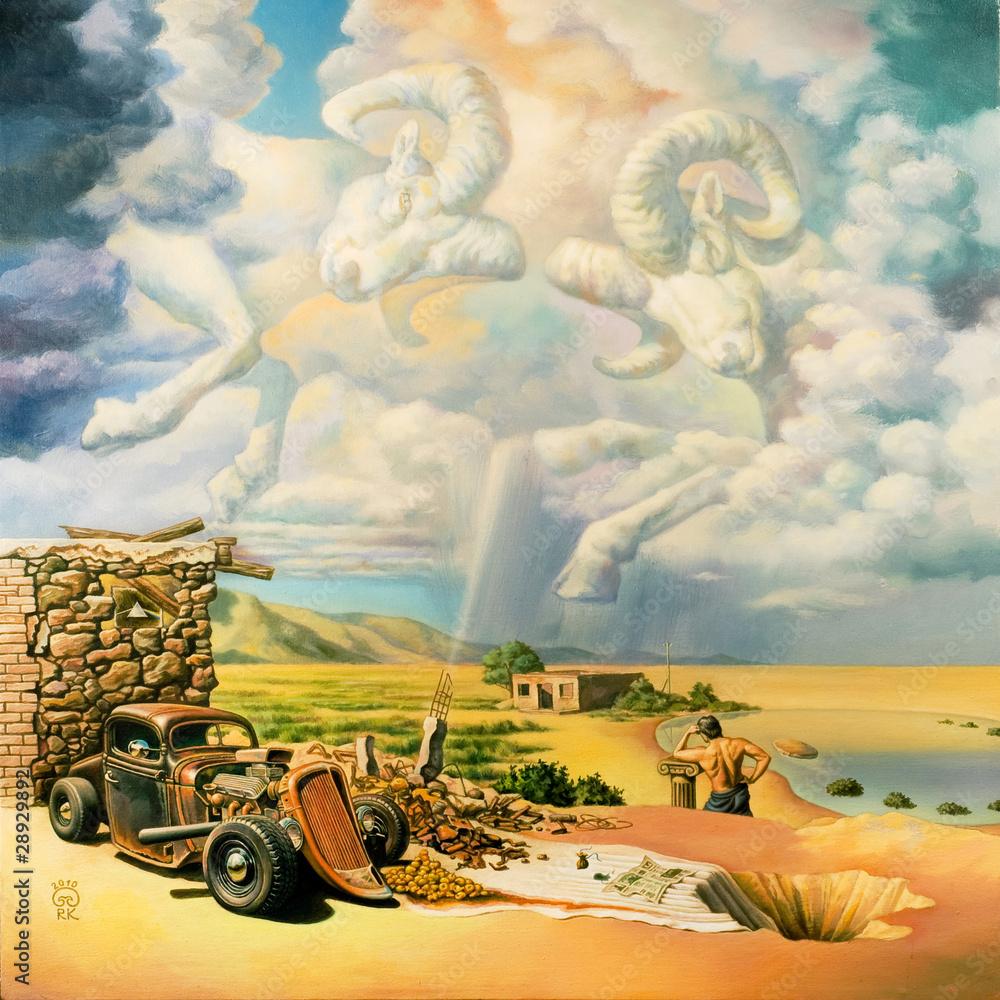 "Original artwork oil painting ""Invisible Umbrella"" - obrazy, fototapety, plakaty"