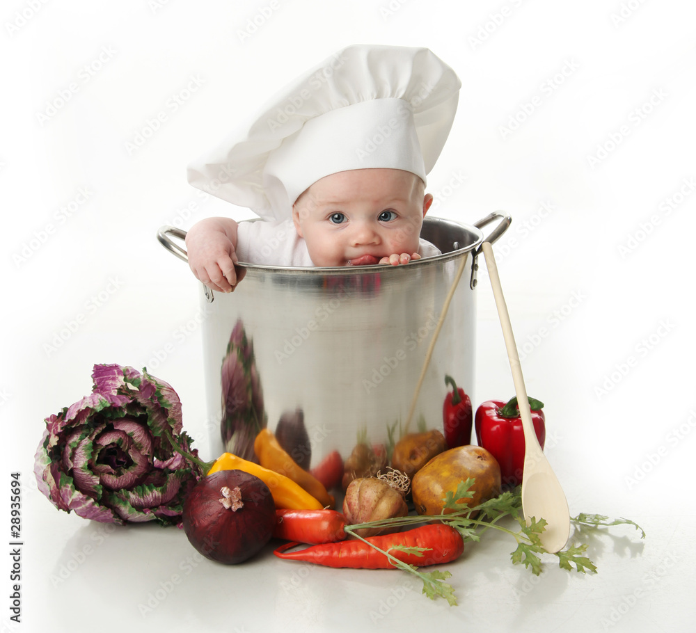 Fototapety, obrazy: Licking baby sitting in a chef's pot