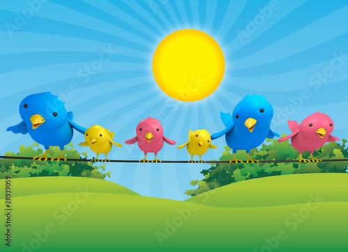 Poster Oiseaux, Abeilles Birds Family