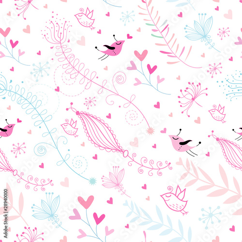 In de dag Vogels, bijen Seamless floral pattern