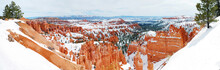 Bryce Canyon Panorama With Snow In Winter With Red Rocks