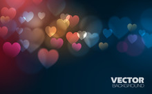 Absract Background With Hearts Vector Design