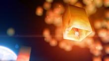 Flying Lanterns Rise Upward, F...