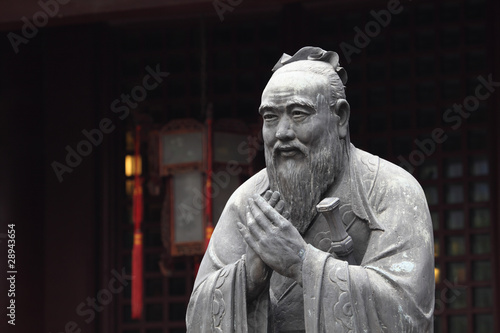 Vászonkép Statue of Confucius at Temple in Shanghai, China
