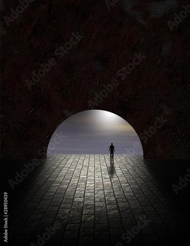 Fotografie, Obraz  Mystery Man in Tunnel