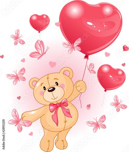 Türaufkleber Marchenwelt Valentine's Teddy