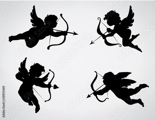 Foto Vier Engelsschattenbild des niedlichen Valentinsgrußes
